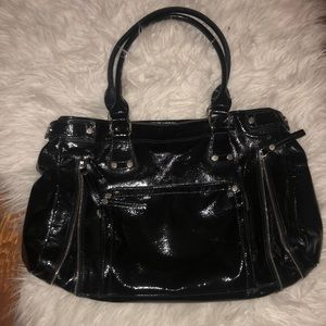 Patent Leather Longchamp Handbag With Zippers